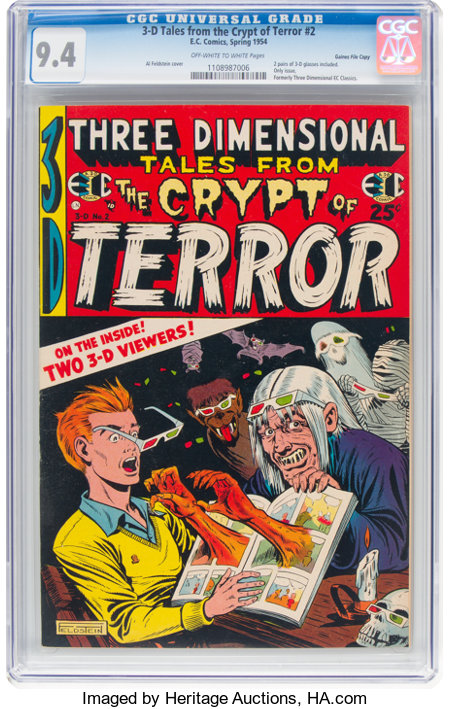 Three Dimensional Tales from the Crypt of Terror #2 Gaines File Pedigree (EC, 1954) CGC NM 9.4 Off-white to white pages....