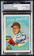Autographs:Sports Cards, Signed 1980's Reprint (1959 Topps) Stan Musial #150 PSA/DNA Authentic. ...