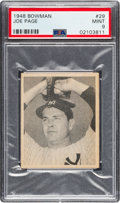 Baseball Cards:Singles (1940-1949), 1948 Bowman Joe Page #29 PSA Mint 9 - None Higher. ...