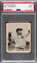 Baseball Cards:Singles (1940-1949), 1948 Bowman Bill Johnson #33 PSA Mint 9 - Only One Higher. ...