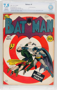 Batman #7 (DC, 1941) CBCS Apparent VF- 7.5 Slight to Moderate (P) Off-white pages