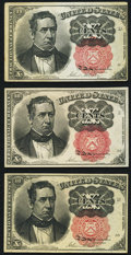 Fractional Currency:Fifth Issue, Fr. 1265 10¢ Fifth Issue About New;. Fr. 1265 10¢ Fifth Issue XF;.Fr. 1266 10¢ Fifth Issue About New.. ... (Total: 3 notes)