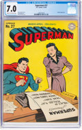 Golden Age (1938-1955):Superhero, Superman #27 (DC, 1944) CGC FN/VF 7.0 Cream to off-white pages....