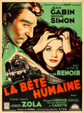 "Movie Posters:Foreign, La Bete Humaine (Lux, R-1940s). Very Fine- on Linen. French Grande(46.75"" X 63"").. ..."