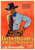 """Movie Posters:Western, Under the Tonto Rim (Paramount, 1928). Very Fine- on Linen. Swedish One Sheet (28"""" X 39.5"""").. ..."""