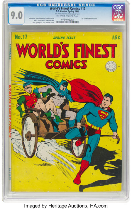 World's Finest Comics #17 (DC, 1945) CGC VF/NM 9.0 Off-white to white pages....