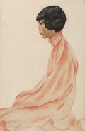 Works on Paper, Isabelle Magor (American, 1898-1998). Seated Girl in an Oriental Robe. Watercolor and pastel on paper. 37-1/2 x 24-1/2 i...