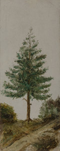 Paintings, American School (20th Century). Pine Tree. Oil on paper. 6-1/4 x 2-1/2 inches (15.9 x 6.4 cm). PROPERTY OF A LADY, MON...