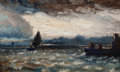 Fine Art - Painting, American, Louis Michel Eilshemius (American, 1864-1941). Seascape. Oilon panel. 5-1/4 x 8-1/4 inches (13.3 x 21.0 cm). PROPER...