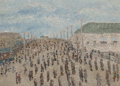 Fine Art - Painting, American, Lawrence Rothbort (American, 1920-1963). Brighton Beach,1946. Oil on board. 12-3/4 x 17-7/8 inches (32.4 x 45.4 cm). Si...