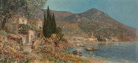 Alois Arnegger (1879-1963) Italian Villa by the Shore Oil on canvas 18 x 40 inches (45.7 x 101.6