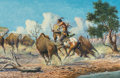 Fine Art - Painting, American, Bud Breen (American, 1927-2005). Buffalo Hunt. Acrylic oncanvas. 24 x 36 inches (61.0 x 91.4 cm). Signed lower right: ...