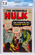 Silver Age (1956-1969):Superhero, The Incredible Hulk #2 (Marvel, 1962) CGC VF- 7.5 Off-white towhite pages....