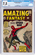 Silver Age (1956-1969):Superhero, Amazing Fantasy #15 (Marvel, 1962) CGC VF- 7.5 Off-white pages....