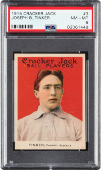 1915 Cracker Jack Joe Tinker #3 PSA NM-MT 8 - Only One Higher