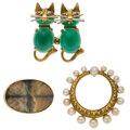 Estate Jewelry:Brooches - Pins, Multi-Stone, Cultured Pearl, Gold Brooches. ... (Total: 3 Items)