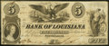 Obsoletes By State:Louisiana, New Orleans, LA - Bank of Louisiana $5 June 14, 1862 Very Fine.. ...