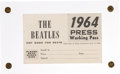 Music Memorabilia:Memorabilia, Beatles Unissued 1964 Press Working Pass (US, 1964)....