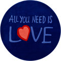 "Music Memorabilia:Memorabilia, Beatles ""All You Need is Love"" Large Round Rug (2005)...."