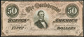 Confederate Notes:1864 Issues, T66 $50 1864 PF-6 Choice Crisp Uncirculated.. ...