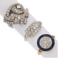 Estate Jewelry:Rings, Diamond, Sapphire, Synthetic Sapphire, Palladium, Gold Rings . ... (Total: 3 Items)