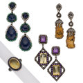 Estate Jewelry:Lots, Multi-Stone, Diamond, Colored Diamond, Gold, Silver Jewelry. ... (Total: 4 Items)