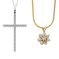 Estate Jewelry:Pendants and Lockets, Diamond, Gold Pendant-Necklaces . ... (Total: 2 Items)