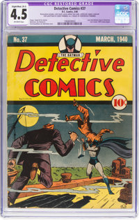Detective Comics #37 Trimmed (DC, 1940) CGC Apparent VG+ 4.5 Slight to Moderate (B-2) Off-white pages