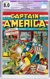 Captain America Comics #1 (Timely, 1941) CGC Apparent VF 8.0 Extensive (A-5) Cream to off-white pages