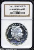 Proof Modern Issues: , 1990-P S$1 Eisenhower Silver Dollar PR 68 Deep Cameo NGC. ...