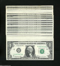 Error Notes:Partial Third Printing, $1 Federal Reserve Notes with Weak Digits. Twenty-one Examples. Crisp Uncirculated or Better.... (21 notes)