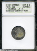 Early Dimes: , 1805 10C 4 Berries Good6--Damaged, Cleaned, Bent--ANACS, FineDetails JR-2....