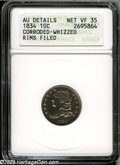 Bust Dimes: , 1834 10C Small 4 VF35--Corroded, Whizzed, Rims Filed--ANACS, AUDetails....