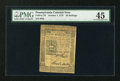 Colonial Notes:Pennsylvania, Pennsylvania October 1, 1773 50s PMG Choice Extremely Fine 45....