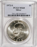 Eisenhower Dollars: , 1972-S $1 Silver MS68 PCGS. PCGS Population (1264/10). NGC Census: (312/5). Mintage: 2,193,056. Numismedia Wsl. Price for N...