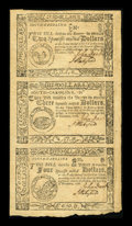 Colonial Notes:South Carolina, South Carolina December 23, 1776 Uncut Vertical Strip of Three $2,$3, $4 About New....