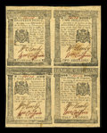 Colonial Notes:Pennsylvania, Pennsylvania April 25, 1776 Uncut Block of Four 18d, 1s, 2s, 2s6d Extremely Fine....