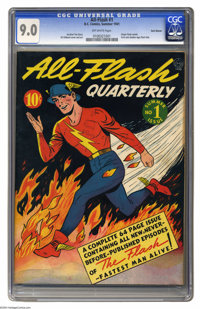 All-Flash #1 Recil Macon pedigree (DC, 1941) CGC VF/NM 9.0 Off-white pages. Yes, the Flash was already seen in every iss...