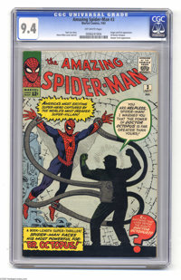The Amazing Spider-Man #3 (Marvel, 1963) CGC NM 9.4 Off-white pages. Doctor Octopus has certainly become a household nam...