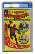 Silver Age (1956-1969):Superhero, The Amazing Spider-Man #8 (Marvel, 1964) CGC NM+ 9.6 Off-white towhite pages. We give you Flash Thompson: football star, ad...