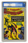 Silver Age (1956-1969):Superhero, The Amazing Spider-Man #12 (Marvel, 1964) CGC NM 9.4 Off-white pages. Spidey is unmasked by Doctor Octopus (in Ock's third a...