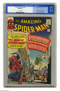 Silver Age (1956-1969):Superhero, The Amazing Spider-Man #18 (Marvel, 1964) CGC NM+ 9.6 Off-whitepages. This issue sees the first appearance of Ned Leeds who...