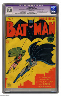 Batman #1 (DC, 1940) CGC Apparent VF 8.0 Extensive (P) Off-white pages. This premiere issue is the sixth most valuable c...