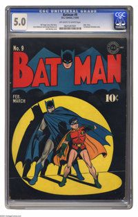 Batman #9 (DC, 1942) CGC VG/FN 5.0 Off-white to white pages. Jack Burnley's cover is one of the best-known of all Batman...