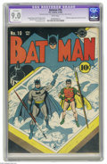 Golden Age (1938-1955):Superhero, Batman #10 (DC, 1942) CGC Apparent VF/NM 9.0 Slight (P) White pages. Catwoman appears sporting a new costume in this issue, ...