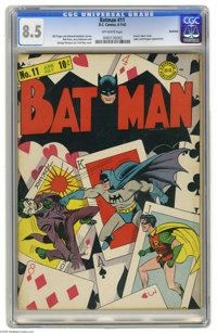 Batman #11 Rockford pedigree (DC, 1942) CGC VF+ 8.5 Off-white pages. A classic Joker cover by Fred Ray makes this one of...