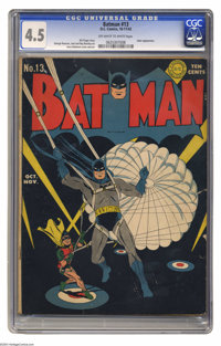 Batman #13 (DC, 1942) CGC VG+ 4.5 Off-white to white pages. The Joker has a new scheme to make loads of cash, and Batman...