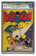 Golden Age (1938-1955):Superhero, Batman #14 (DC, 1943) CGC Qualified VG 4.0 Off-white to white pages. Penguin appearance (his second cover appearance). Jerry...