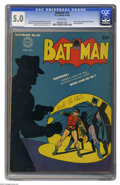 Golden Age (1938-1955):Superhero, Batman #16 (DC, 1943) CGC VG/FN 5.0 White pages. This issue saw the first appearance of perhaps the best-known butler in all...