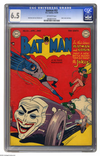 Batman #52 (DC, 1949) CGC FN+ 6.5 Off-white pages. When the Joker's not tooling around in his Jokermobile (see Win Morti...
